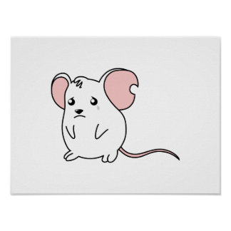 Sad Crying Weeping White Mouse Pillow Button Pin Poster