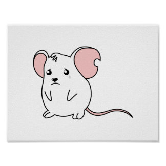 Sad Crying Weeping White Mouse Pillow Button Pin Posters