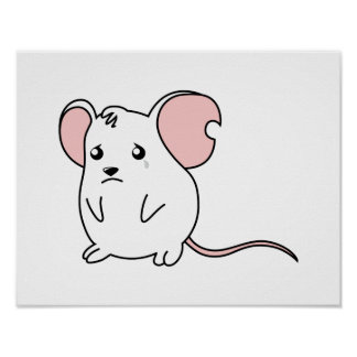 Sad Crying Weeping White Mouse Pillow Button Pin Print