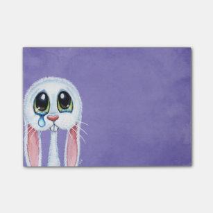 Sad Crying White Rabbit Illustration Post-it Notes