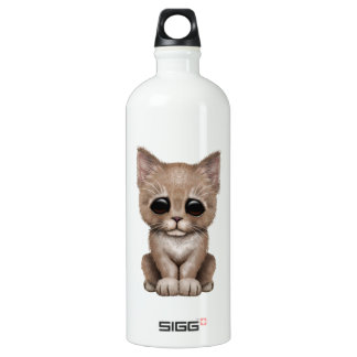 Sad Cute Beige Kitten Cat Aluminum Water Bottle