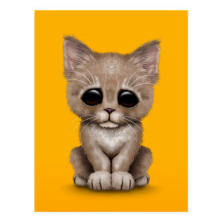 Sad Cute Beige Kitten Cat on Yellow Postcard