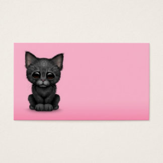 Sad Cute Black Kitten Cat on Pink Business Card