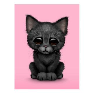 Sad Cute Black Kitten Cat on Pink Postcard