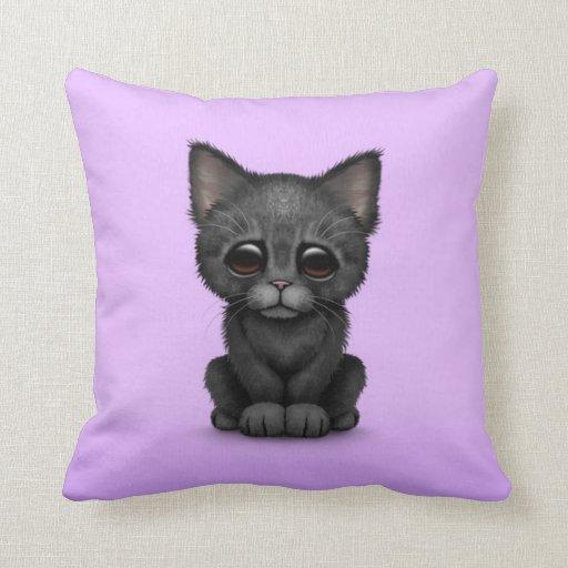 Sad Cute Black Kitten Cat on Purple Pillow Zazzle
