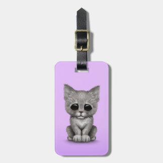 Sad Cute Gray Kitten Cat on Purple Luggage Tag