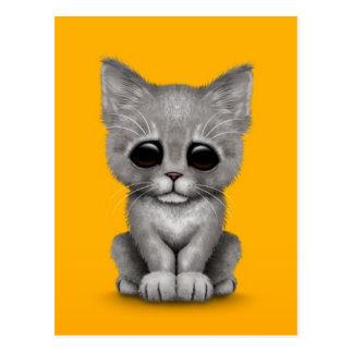 Sad Cute Gray Kitten Cat on Yellow Postcard
