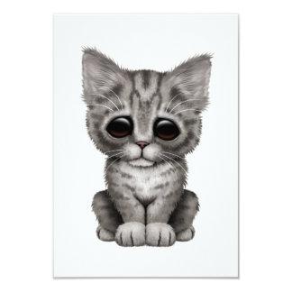 Sad Cute Gray Tabby Kitten Cat Custom Announcements