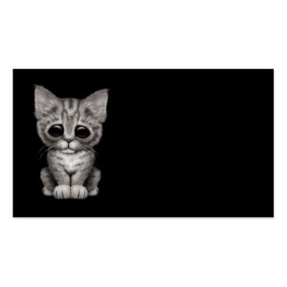 Sad Cute Gray Tabby Kitten Cat on Black Business Card Templates