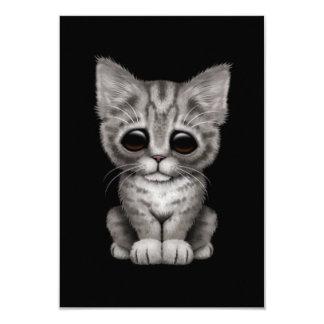Sad Cute Gray Tabby Kitten Cat on Black Custom Announcements