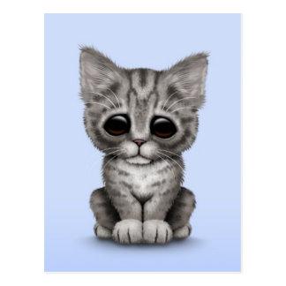 Sad Cute Gray Tabby Kitten Cat on Blue Postcard