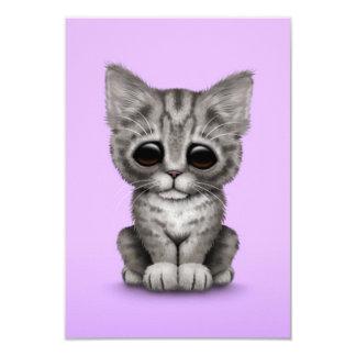 Sad Cute Gray Tabby Kitten Cat on Purple Announcements