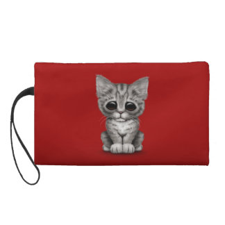 Sad Cute Gray Tabby Kitten Cat on Red Wristlet Clutches