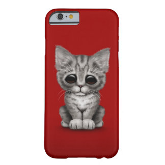 Sad Cute Gray Tabby Kitten Cat on Red Barely There iPhone 6 Case