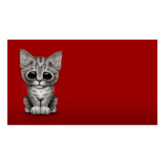 Sad Cute Gray Tabby Kitten Cat on Red Business Card Template