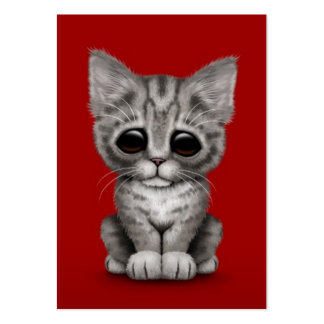 Sad Cute Gray Tabby Kitten Cat on Red Business Card