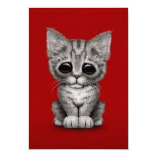 Sad Cute Gray Tabby Kitten Cat on Red Invites