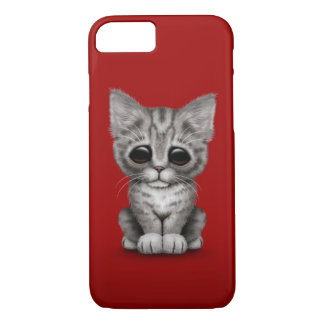 Sad Cute Gray Tabby Kitten Cat on Red iPhone 8/7 Case