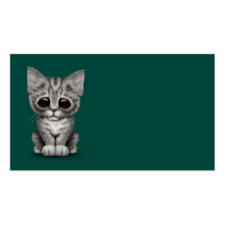 Sad Cute Gray Tabby Kitten Cat on Teal Blue Business Card Templates