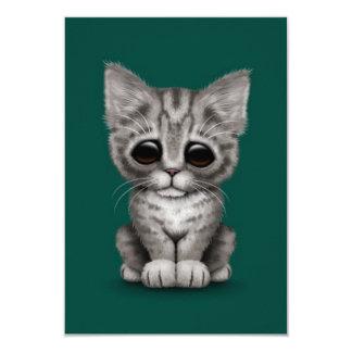 Sad Cute Gray Tabby Kitten Cat on Teal Blue Announcement