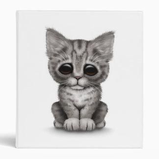 Sad Cute Gray Tabby Kitten Cat on White 3 Ring Binders