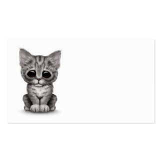 Sad Cute Gray Tabby Kitten Cat on White Business Cards