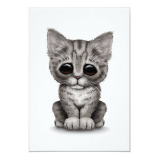 Sad Cute Gray Tabby Kitten Cat on White Custom Invitation