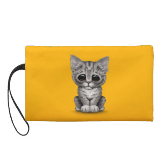 Sad Cute Gray Tabby Kitten Cat on Yellow Wristlet Clutches