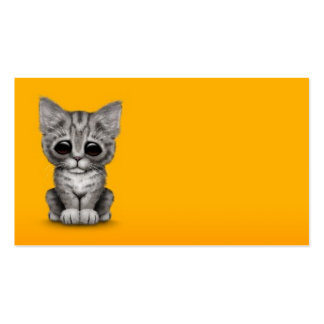Sad Cute Gray Tabby Kitten Cat on Yellow Business Cards