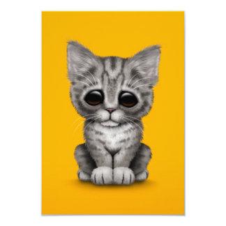 Sad Cute Gray Tabby Kitten Cat on Yellow Personalized Invite