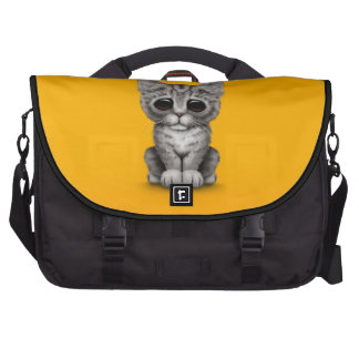 Sad Cute Gray Tabby Kitten Cat on Yellow Commuter Bags