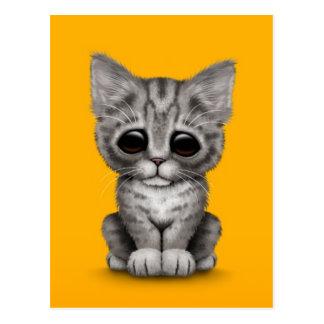 Sad Cute Gray Tabby Kitten Cat on Yellow Postcard