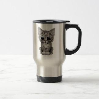 Sad Cute Gray Tabby Kitten Cat Travel Mug