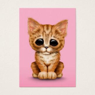 Sad Cute Orange Tabby Kitten Cat on Pink Business Card