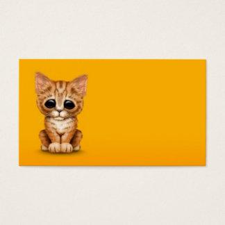 Sad Cute Orange Tabby Kitten Cat on Yellow Business Card