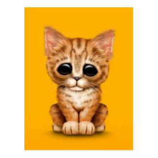 Sad Cute Orange Tabby Kitten Cat on Yellow Postcard