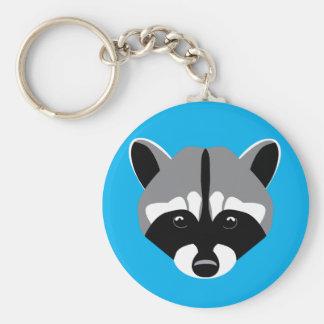 Sad Cute Raccoon Basic Round Button Keychain