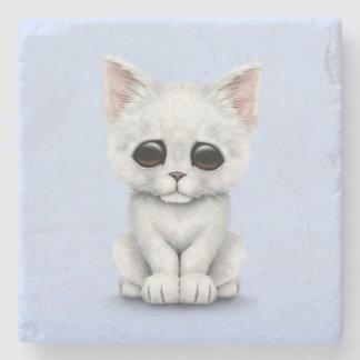 Sad Cute White Kitten Cat on Blue Stone Coaster