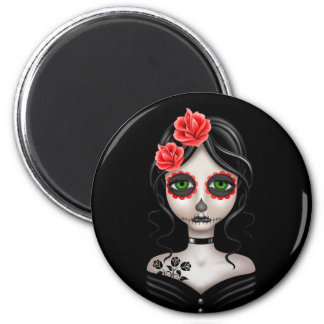 Sad Day of the Dead Girl on Black 2 Inch Round Magnet