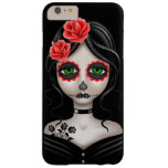 Sad Day of the Dead Girl on Black Barely There iPhone 6 Plus Case