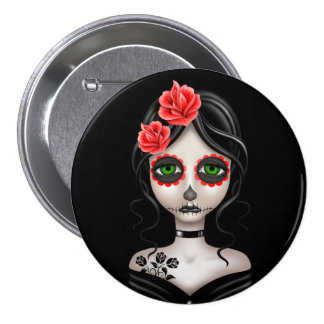 Sad Day of the Dead Girl on Black Button