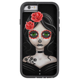 Sad Day of the Dead Girl on Black Tough Xtreme iPhone 6 Case