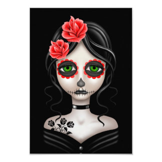 Sad Day of the Dead Girl on Black Custom Invite