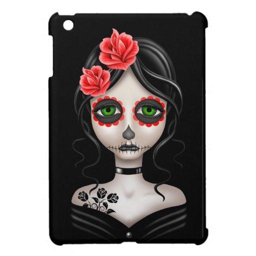 Sad Day of the Dead Girl on Black iPad Mini Cover