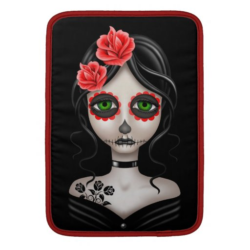 Sad Day of the Dead Girl on Black Sleeves For MacBook Air