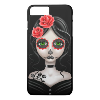 Sad Day of the Dead Girl on Black iPhone 8 Plus/7 Plus Case