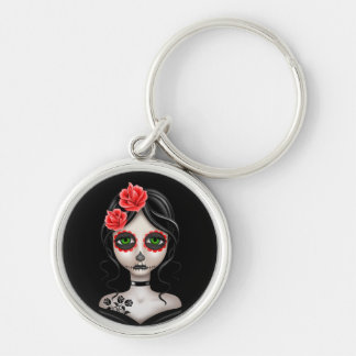 Sad Day of the Dead Girl on Black Key Chains