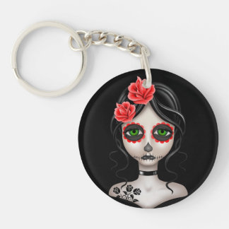 Sad Day of the Dead Girl on Black Double-Sided Round Acrylic Keychain
