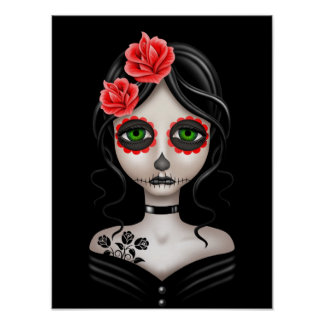 Sad Day of the Dead Girl on Black Poster