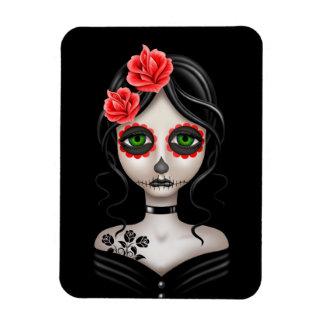 Sad Day of the Dead Girl on Black Rectangular Photo Magnet